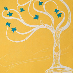 Dreaming Tree (yellow with blue) - Linocut Artwork - In this very simple linoleum print, a tree grows on a hill in some distant place where it is safe to dream. No harm can come to you here: A little bird sits on the curling branches of a flowering tree and sings you a song. In the land of the dreaming tree your heart ceases to ache; your worries fade to a distant gray and the bird murmurs just softly enough for you to think dreamy thoughts.  The print is hand-pulled from a linoleum block; hand-painted gouache additions are made after the print is dried. From a limited edition, each original print is signed, dated and numbered by the artist.