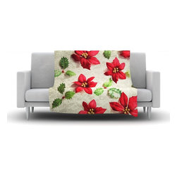 """Kess InHouse - Sylvia Cook """"Poinsettia"""" Holiday Leaves Fleece Blanket (60"""" x 50"""") - Now you can be warm AND cool, which isn't possible with a snuggie. This completely custom and one-of-a-kind Kess InHouse Fleece Throw Blanket is the perfect accent to your couch! This fleece will add so much flare draped on your sofa or draped on you. Also this fleece actually loves being washed, as it's machine washable with no image fading."""