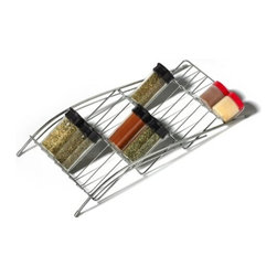 Spectrum Diversified Designs - In-drawer Spice Rack - Neatly organize your spices with the convenient In-Drawer Spice Rack. Designed to fit inside most standard size drawers, four tiers allow you to store many bottles. Made of sturdy steel.