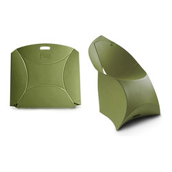 Flux Furniture - Flux Junior, Camouflage Green - Award-winning Dutch design - for kids, looks like a giant envelope; turns into a designer chair. Simple. One craftily cut sheet of sustainable polypropylene and a variety of modern colours to choose from; zero tools necessary.