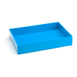 Poppin - Accessory Tray, Pool Blue - When it comes to organizing, don't head for the straight and narrow. Become an accessory to wild style with this tray on your desk, vanity or closet shelf. It measures 9 3/4 by 6 3/4 by 1 1/2 inches and is finished in your choice of eye-popping colors in a lacquer-like finish.