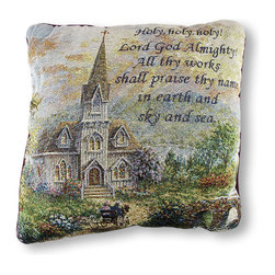 Manual - Woven Tapestry Holy Holy Holy Throw Pillow 17 In. - This beautiful throw pillow features a verse from the hymn, 'Holy, Holy, Holy,' with a picturesque scene of a church in the countryside with chuch goers arriving by a horse drawn carriage. The front is made of a cotton/polyester blend, the backing is cotton, and the soft stuffing is polyester. The pillow measures 17 inches by 17 inches, and care instructions are to spot clean, only. It adds a charming and inspirational accent to any room, and it makes a lovely gift for friends and family. Made in the U.S.A.