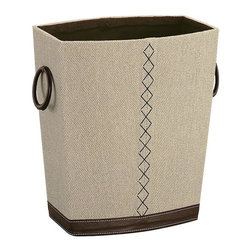 Organize It All - Wastebasket - Great for any of room setting. Beautiful brown stitching. Perfect for placing inconspicuously under the desk in the home office or under the sink in the bathroom. Made from faux leather. Beige and brown finish. No assembly required. 12 in. L x 8 in. W x 13.5 in. H (4.50 lbs.)