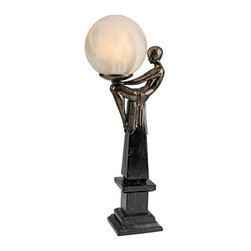 """EttansPalace - 21"""" Classic Bronze Art Deco Sculpture Statue Table Lamp - Balancing a 5.5"""" frosted orb on her prettily pert knees, the lithe maiden in this striking, highly stylized Art Deco illuminated sculpture is the epitome of newly found, flapper-era freedom. Heralding a true independent of her time, this quality designer resin statue is a statement piece hand-painted to replicate museum-quality bronze. Switch-on cord; accepts your 25-watt, type A bulb."""
