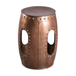 Willamette Stool - With round rivets to adorn its cut-out sides, and a hammered pattern at the top, this beautiful copper-finished salvaged steel stool has a Marrakesh vibe we can definitely get used to. Use it as a tabletop, or as a place to perch among friends.