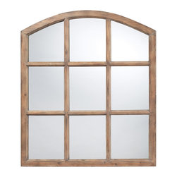 Sterling Industries - Union Wood Mirror in Faux Window Design N a Natural Oak Finish - This Union faux window design mirror is the perfect piece for any room of the house. Made of polyurethane material. The union wood mirror features an arched door/window design that makes a great accent or faux window in your home. Perfect as an accent mirror in a hallway, bathroom and even a sun porch. Available in natural oak finish.