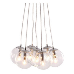 Decadence Ceiling Lamp - Let the warmth of 7 glowing orbs fill your room with light. The Decadence ceiling lamp has 7 glass orbs fixed to a chrome base. The lamp comes with seven 40W bulbs and is UL approved. - Clear Glass, Chrome. E12 G50 7x max. 40W. UL Listed, bulb included.