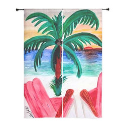 xmarc - Beach Art Sheer Curtains, Red Beach Chairs - The windows have it with these sheer, decorative curtains. Romantic and flowing, these elegant chiffon window treatments finish a room with the perfect statement