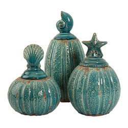 Pearson Jars w/ Shell Lids - Set of 3 - The Pearson lidded jars are topped with shells and finished in blue. Set of three.