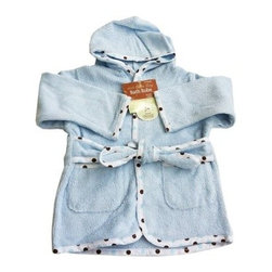 "American Baby Company Organic Terry Baby Bath Robe - Blue - This cozy organic terry robe is ideal for your baby's comfort and warmth. This adorable terry robe with dotted trim comes with a matching waist tie and two pockets. 100% organic cotton terry. For ages 0 - 9 months and up. Machine wash. About American Baby CompanyAmerican Baby Company, Inc. is a leading U.S. manufacturer of baby bedding that emphasizes high-quality comfort and safety. They are a leader in the industry at providing fast delivery of premium-quality products at reasonable prices. American Baby Company's bedding line coordinates with all types of nursery settings, and their solid color collection is updated annually to provide the latest """"in trend"""" colors. American Baby Company has been an innovator of products that meet the safety needs of their customers. Their safety crib sheet, which has been featured in leading baby and mothering magazines, is an example of this focus."