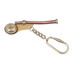 "Handcrafted Model Ships - Brass/Copper Bosun Whistle Key Chain - Brass Key Ring - This nautical-themed key chain is both adorable and functional, featuring a brass and copper bosun's whistle (or ""bosun's pipe"") key fob. Crafted from solid brass and copper, this key chain is as beautiful as it is durable and functional. A knurled knob allows you to easily and securely add or remove keys from the ring. These wonderful key chains make ideal gifts for friends, family, employees, clients, co-workers and especially yourself."