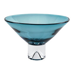 Badash - Monaco Peacock Blue Glass Bowl - The European Peacock Blue bowl with all clear base is mouth blown of glass. This cased glass centerpiece bowl will look stunning on your coffee or dining room table, a fashion forward color great for fruit or floral bouquets.