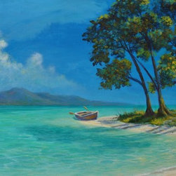 """Original Tropical Caribbean Painting (Gone Ashore) - Gone Ashore is an original 24""""x48"""" acrylic tropical Caribbean beach painting on gallery wrap canvas and ready to hang."""