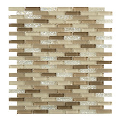 """Euro - Cream/Beige Glossy/Frosted And Iridescent Glass - Transform any room with these unique and inspired Cream/Beige Glossy/Frosted & Iridescent Glass tiles. Whether you are looking to infuse your decor with something classic or contemporary, this artful blend lends the perfect ambience. Both distinctive and durable, these tiles can be used in myriad applications, be it backsplashes, bathrooms, fireplaces, walls, even ceilings and floors. Incorporate these top quality artisan tiles for a gorgeous and dramatic effect.        Sheet size:  11"""" x 11 11/4""""        Tile Size:  3/8"""" x 1 5/8""""        Tiles per sheet:  156        Tile thickness:  1/4""""        Grout Joints:  1/8""""        Sheet Mount:  Mesh Backed        Sold by the sheet"""