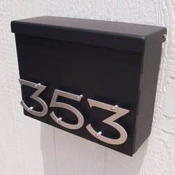 Custom Victorian Floating House Number Mailbox No. 1310 in Black - Custom Victorian Floating House Number Mailbox No. 1310 in Black