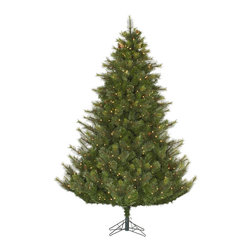"""Vickerman - Modesto Mixed 750CL Dura-Lit (7.5' x 66"""") - 7.5' x 66"""" Modesto Mixed Pine, 1193 tips & Cones, UL 750 Dura-Lit Clear Mini Light, on/off switch step, in Bmv metal base, 77% PVC, 23% Hardneedle. Dura-lit Lights utilize microchips in each socket so bulbs stay lit even when some bulbs are broken or missing."""