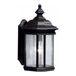 Kichler 1-Light Outdoor Fixture - Black Exterior - One Light Outdoor Fixture The Kirkwood collection looks to add a touch of elegance to your home with a line of lighting that embodies classic design for those who only want the finest. Using a high quality fit and finish, the Kirkwood collection employs our basic black finish that not only looks fantastic now, but also will last for years to come. Seedy glass panels on each of the fixtures` sides allow for light to radiate from all angles, ensuring you the light you need. We think you`ll agree that the Kirkwood is a collection you can`t afford to miss. This 17 high by 8 wide, 1-light wall lantern uses a 150-watt bulb, and is u. L. Listed for wet location.