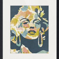 Imagekind - Marilyn From Around The Way - Blue, Framed Art Print - Nancy draws inspiration from nature, fashion, and interior design.  Hand-painted shapes and textures pulse among the buzz of digital geometries. Pop art and mod motifs incorporated with symmetry, repetition and vibrant colors create bold patterns that make for great modern wall décor in any space.