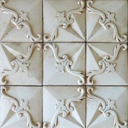 Tabarka - Relevante 1 - Mediterranean style, hand-crafted terra cotta relief tile in off white. Can be used as wall tile.
