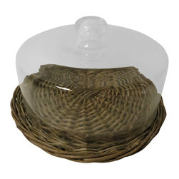 Heather Fields Home & Garden - Large Glass & Wicker Cloche & Tray - Bleached wicker tray with a glass dish that removes for easy cleaning. Glass cloche to cover. Great for any buffet or table setting for parties. Perfect for cupcakes, pastries or cheese. Food safe.
