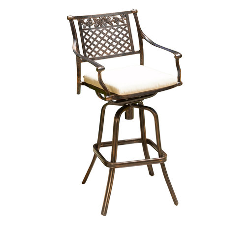 Great Deal Furniture - Sierra Outdoor Cast Aluminum Swivel Bar Stool w/ Cushion, Single W/ Cushions - Perfect for creating an intimate seating area in your garden, the Sierra Cast Aluminum Bar Stool makes a wonderful choice. This bar stool lends a dash of elegance to your patio with its elaborate patterned design. Crafted from cast aluminum, this bar height stool will last for many years to come. A unique, antique copper finish sets this chair apart from the rest and its padded cushion ensures that you sit comfortably. It assembles easily and includes rust-resistant stainless steel hardware. A romantic European look that will enhance your outdoor living space.