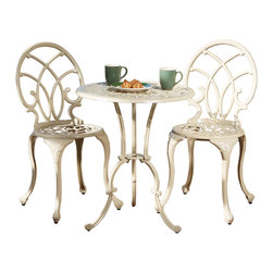 Great Deal Furniture - Andover Outdoor 3pc Cast Aluminum Bistro Set - The Andover Cast Aluminum Bistro Set is a great addition for your outdoor patio or garden. The sandy off-white color naturally provides the perfect accent for this beautifully designed set and is a gorgeous shade to brighten up any patio or deck. The curves provide not only ornate styling, and sturdy support. The chairs and table are made of sturdy, durable cast aluminum and require little maintenance.