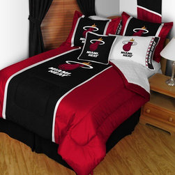 Sports Coverage - Miami Heat Sideline Comforter in Black - Features: -Available in Twin or Queen sizes. -Color: Black. -Material: 100% Polyester Jersey. -Filled with 100% Polyester Batting. -Logos are screen printed. -Machine washable in warm water, and tumble dry on low heat.