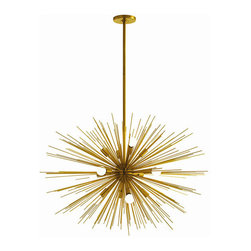 """Arteriors - Arteriors Home - Zanadoo Large Chandelier - 89991 - Arteriors Home - Zanadoo Large Chandelier - 89991 Features: Zanadoo Collection Large ChandelierIt was so popular we made the spokes longer to give it more volumeStill has 12 lightsFinished in polished Brass Some Assembly Required. Dimensions: H 33-45""""x 36"""" Dia"""