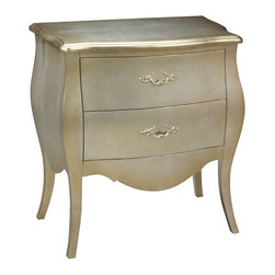 Bailey Street - Romana 2-Drawer Bowfront Bombe Chest w Silver Leaf Finish - Bring a touch of elegance to any space with this two-drawer bombe chest, featuring a traditional design and a gleaming silver leaf finish. The stunning chest is ideal in a bedroom or as versatile hall storage and will be an ornate, regal addition to any interior design. Traditional bombe chest. Hand covered in silver leaf. Finished with a touch of gold. Made from plantation grown hardwoods and other wood products. Gold finish. 28.5 in. W x 16 in. D x 30 in. H
