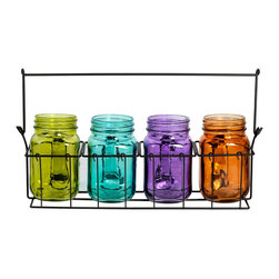 Elements - Assorted Color 4-piece Mason Jars with Metal Caddy Tealight Holders - This set of four assorted color Mason jar tealight holders will add charm and whimsy to your home decor. This set of colorful candle holders includes a metal caddy that will add the warm glow of candlelight to a shelf or dark corner.