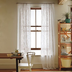 Cherry Blossom Burnout Window Panel - I love this white-on-white curtain option from West Elm. The dainty texture it adds to the room is lovely. It would be perfect for a cozy kitchen or a little girl's room.