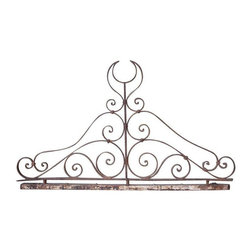 Used Vintage Ornate Wrought Iron Sculpture - This section of antique metal gate would make an amazing headboard or wall art. The piece is very old, with no welding and all joints have been banded or riveted. Discount available for local pickup.