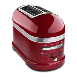 "KitchenAid Pro Line Toaster - This toaster not only matches the ubiquitous KitchenAid Stand Mixer, but also features nifty functions like a defrost setting for frozen bagels and waffles and an ""A Little Longer"" button for when things are not quite brown enough. It gently raises your toasted goodies to the surface when they're done, eliminating any early morning jack-in-the-box-type surprises."