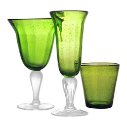 Abigails - Bubble Water Glass, Army Green, Set of 4 - Only the water glass (farthest right product) is included in purchase.