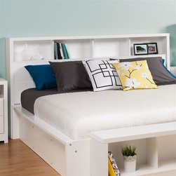Prepac - Headboard - Finished in durable pure white laminate. Features 4 storage shelves. Freestanding design - Compatible with standard and California king size beds. Constructed from CARB-compliant composite wood. 5-year manufacturer's limited parts warranty. Ships Ready to Assemble, includes an instruction booklet for easy assembly. 84 in. W x 8.75 in. D x 47 in. H Inspired by chic cosmopolitan design, the Calla Collection blends modern lines and elegant details. The Calla Headboard features a bold thick top, functional storage and pure white laminate finish. This free-standing headboard works well with a variety of king size frames and decorating styles.