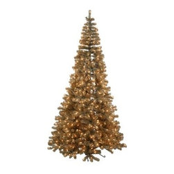 7.5 ft. Antique Champagne Corner Pre-Lit Christmas Tree - Brighten up every corner of your home during the holidays with the help of the 7.5 ft. Antique Champagne Corner Pre-Lit Christmas Tree. This tree features a slim corner design that offers a perfect fit. Its champagne color shines bright with the help of integrated mini lights. Its PVC construction and realistic branches make it a welcome part of any seasonal decor.Don't Forget to Fluff!Simply start at the top and work in a spiral motion down the tree. For best results, you'll want to start from the inside and work out, making sure to touch every branch, positioning them up and down in a variety of ways, checking for any open spaces as you go.As you work your way down, the spiral motion will ensure that you won't have any gaps. And by touching every branch you'll create the desired full, natural look.About VickermanThis product is proudly made by Vickerman, a leader in high quality holiday decor. Founded in 1940, the Vickerman Company has established itself as an innovative company dedicated to exceeding the expectations of their customers. With a wide variety of remarkably realistic looking foliage, greenery and beautiful trees, Vickerman is a name you can trust for helping you create beloved holiday memories year after year.
