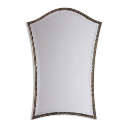 """Silver Frame Beveled Vanity Mirror - *A narrow, lightly antiqued, silver leaf frame with burnished details accents this shapely beveled mirror. Mirror features a generous 1 1/4"""" bevel."""