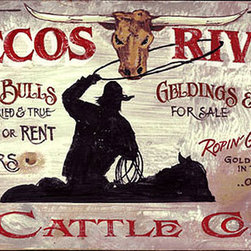 Red Horse Signs - Vintage Signs Pecos River - Our  Pecos  River  western  sign  on  distressed  wood  is  a  perfect  way  to  honor  the  cowboy  or  cowgirl  in  your  life.  Personalize  by  changing  owner  name  and/or  name  of  cattle  company  and  you've  got  a  one-of-a-kind  vintage  sign  worthy  of  an  honored  place  in  western  ranch  house  lodge  or  hacienda.  Printed  directly  to  weathered  wood  with  knots  and  imperfections  this  sign  measures  14  x  26.