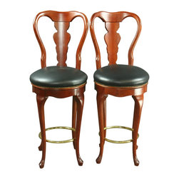EuroLux Home - Consigned Pair Queen Anne New Swivel Bar Stools Faux - Product Details