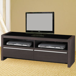 Coaster - 700649 TV Console - Cappuccino finish TV console with storage can hold up to a 88 lb. television.