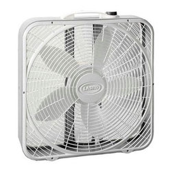 "Lasko Products - Premium Box Fan 3-speed 20"" - Innovative Wind Ring air system provides high volume air movement. Save-Smart - Less than 2 cents per hour. Three quiet speeds Durable Steel Body. Two-year limited warranty ETL Listed. Step up to the Premium Box Fan and enjoy the benefits of the Wind Ring System, an exclusive grill design that focuses the air movement, increasing its velocity. Three, Whisper-Quiet Speeds. 30% More Air Velocity than Most Standard Box Fans. Energy-Efficient, High Volume Air Movement. Wide-Body Design for Stability. U.L. Listed."