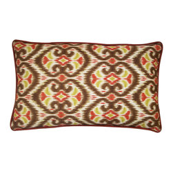 JITI - Small Bali Tan Cotton Pillow - Add a touch of the tropics to your couch with this Bali-inspired pillow. Patterned in rich reds and tans, bordered in pretty piping and stuffed with cozy feathers, it's a refreshing vacation from ordinary accents.