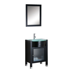 Virtu USA - 24in. Ava - Espresso - Single Sink Bathroom Vanity - The Ava vanity offers modern clean-lined sophistication. The vanity is constructed from solid oak wood. Glass inserts add character and beauty to the cabinet doors. Never hear a door slam again with the soft closing hinges. The vanity is finished with the contemporary-rich Espresso color and is available with multiple countertop options. The vanity set comes complete with a matching mirror and equipped with an eco-friendly, lifetime warranty faucet. The Ava vanity is a center piece to any bathroom design.Virtu USA has taken the initiative by changing the vanity industry and adding soft closing doors and drawers to their entire product line. By doing so, it will give their customers benefits ranging from safety, health, and the vanity's reliability.