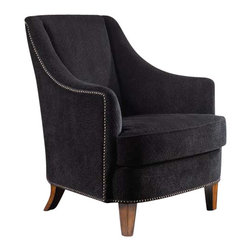 "Uttermost Nala Midnight Black Armchair - Midnight black lounge chair has fabric with subtle swirl sculpting, nail head trim, and sunwashed pecan finished legs. Midnight black lounge chair has plush fabric with subtle swirl sculpting, nail head trim and sunwashed pecan finished legs. Reinforced hardwood construction with removable seat cushion. Light assembly. Seat height is 19""."