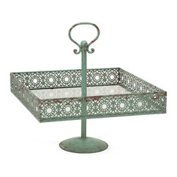 Vintage Chic Green Metal Square Cake Stand - *In a soft shade of green, the Mills metal square cake stand adds a feminine touch to any home. It's lace inspired metal cutwork design enhances any tabletop with petit fours cakes, cupcakes, hors d'oeuvres or plump yeast rolls. Food safe.