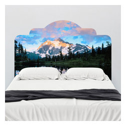 J. Paul Moore - Paul Moore's Mt Shuckson Reflected in Picture Lake, WA Headboard Wall Decal - Revel in the beauty of water, earth, mountain, and sky with this adhesive headboard wall decal from Paul Moore. Contemplate the earth and heavens as you're falling asleep--just don't let the grand expanse and your existential awakening keep you up at night.