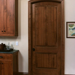 Solid Maple Sante Fe 8 ft Interior Door - Solid Maple Sante Fe 8 ft interior door with traditional cherry stain and semi-gloss finish.