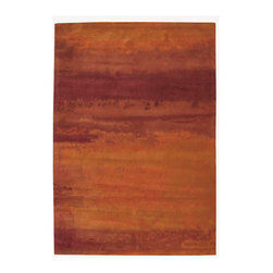 Calvin Klein Home - Calvin Klein Home CK10 Luster Wash SW01 3' x 5' Rust Area Rug 78172 - A loosely rendered composition using a watercolor-like technique featuring gently floating forms and a modulated russet earth tones palette inspired by nature.
