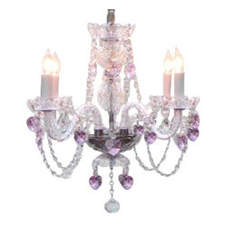 "CRYSTAL CHANDELIER LIGHTING WITH PINK CRYSTAL HEARTS! H17"" X W17"" SWAG PLUG I..."