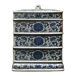 Golden Lotus - Porcelain Rectangular Blue & White Stack Candy Box - This is a stylish elegant decorative accent for the modern home. It can become a few dishes for candy or accessories display. When all stack together, it is a home decoration charm.
